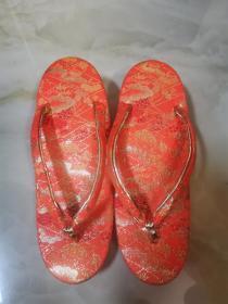 日本带回来的配正统和服着物穿的西阵织绣金丝草履木屐夹脚拖(33码)