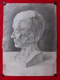 书画原作2895,巴蜀画派·名家【江溶】70年代素描画,石膏.肖像