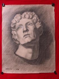 书画原作2897,巴蜀画派·名家【江溶】70年代素描画,石膏.肖像