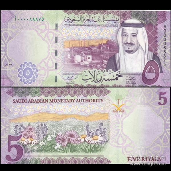 沙特阿拉伯 5里亚尔纸币  外国钱币