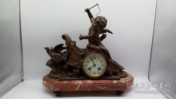 早期西洋合金座钟一件(大理石底座)(可正常走时)