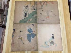 日本色纸 4幅合售(印刷品)