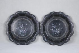 创汇时期 漆器镶嵌螺钿赏盘一对