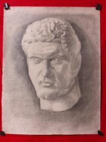 书画原作2894,巴蜀画派·名家【江溶】70年代素描画,石膏.肖像