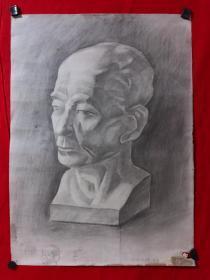 书画原作2898,巴蜀画派·名家【江溶】70年代素描画,石膏.肖像