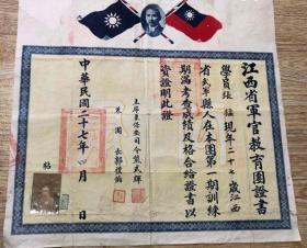 江西省军官教育团证书(郭礼伯团长和熊式辉主席)