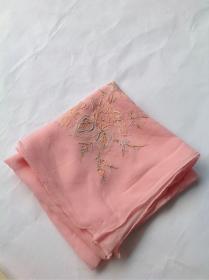 七八十年代创汇期纯蚕丝面料老绣娘纯手工方巾、丝巾