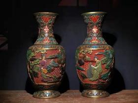漆器 剔红漆器彩绘仕女图花瓶一对 B
