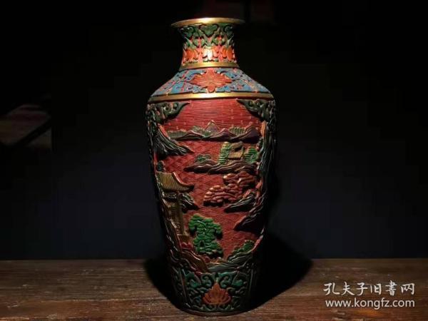 漆器 剔红漆器彩绘山水意境瓶 B