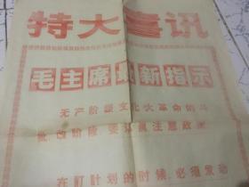 文革 特大喜讯 战斗报 (毛主席最新指示 无产阶级文化大革命的斗、批、改阶段、要认真注意政策