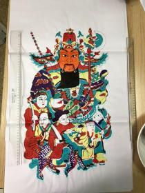 木版年画,门神,五子将军,高78cm、宽47厘米,南通地区。手工印制,局部走色请注意,购买前请询问清楚。