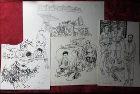 著名画家于绍文绘《儿童文学》插图原稿4幅