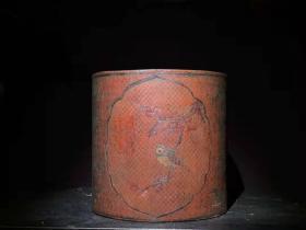 漆器 木胎漆器大笔筒 B