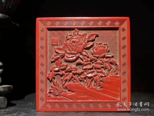 漆器 剔红漆器花开富贵墨盒 B