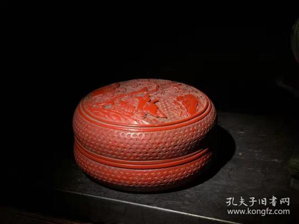 漆器 剔红漆器五福捧寿小茶盘 B