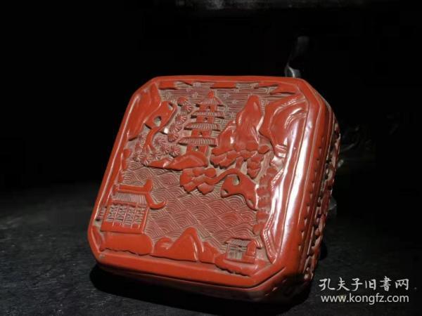 漆器 剔红漆器印泥盒 B
