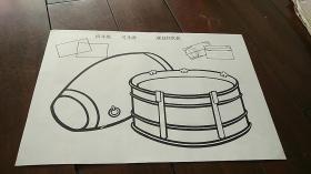 宣传画 8开 《写生画 腰鼓和队鼓》