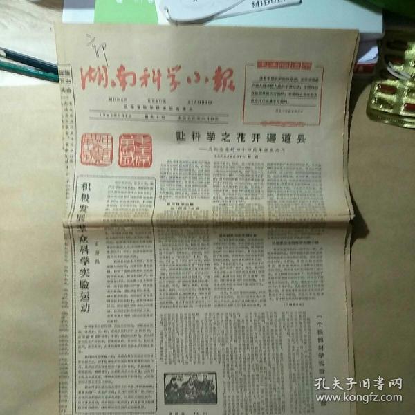 文革报纸:生日报 湖南科技小报1965年7月1日【让科学之花开遍道县;大海航行靠舵手】