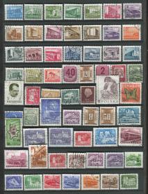 匈牙利邮票 建筑 风光等 信销 63枚 X294