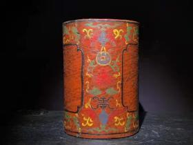 漆器 木 胎漆器笔筒 B