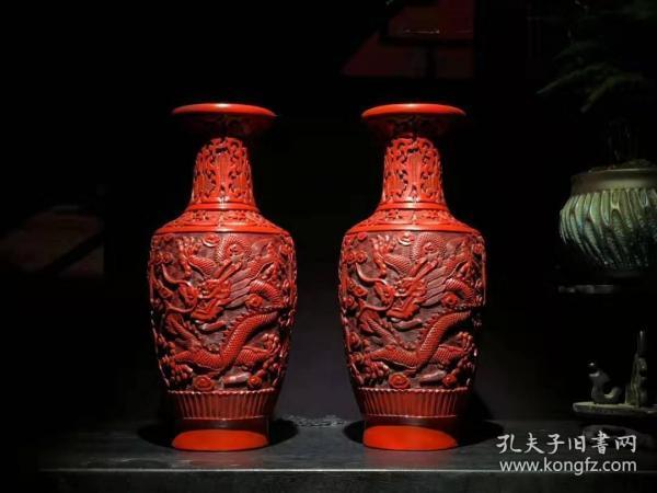 漆器剔红漆器双龙花瓶 B