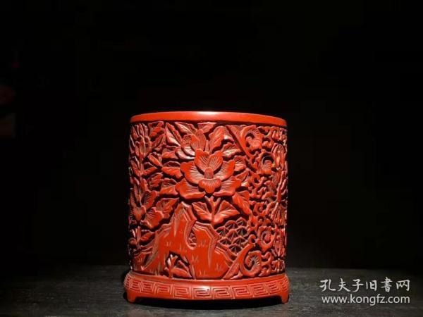 漆器 剔红漆器笔筒 B