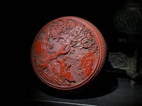 漆器 剔红漆器收纳盒 B