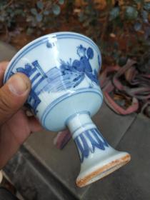 江西收购:出水大明嘉靖青花高足杯,戏婴图,人物质朴,釉水清滢,允称良品。