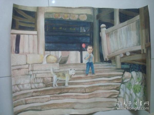 大寨鼓楼手绘水彩画15.,约64*88厘米.时间不详.
