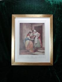 古董装饰画 ,《渔鱼》。 英国淘的。非常著名的铜版画系列作品《Cries of London》中的第一幅,原铜版画创作于1795年(画最底部有标注)共10幅。原画作者是:F. Wheatley 英国历史上最著名画家之一。非常漂亮典雅的挂画。框尺寸:36x29cm画芯尺寸:23×18cm