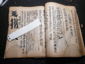 道家手抄符书《水陆榜式》尾页有道光年号,大量画符图案