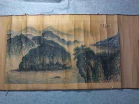 老旧国画山水横幅 手绘原稿真迹