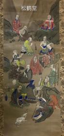 《十六罗汉》1件,日本老旧佛画,挂轴形式,绢本,设色,手画,内为佛教著名的十六罗汉,姿势,神态各不相同,或持法物,或有龙虎相从,十分精美,画风偏于拙朴,意境高远,整体用色亦极为高雅,古韵十足,年代久远之物。