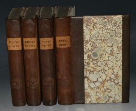 1828年 Diary of Samuel Pepys《佩皮斯日记》珍贵早期版本 野牛皮面特装本4册 原品铜版画插图 增补精美插图 品相绝佳