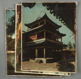 606民国时期颐和园等风景手工上色照片三张