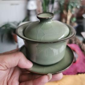 龙泉青瓷盖碗,国家级工艺美术师吴小宝作品。