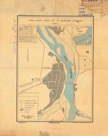 1945年《潮州城区图》(原图高清复制)民国潮州老地图、民国潮州地图、民国潮州城区图。民国外文绘制。潮州地理、地名历史变迁重要史料。请看图例。原图高清复制,裱框后,风貌佳。