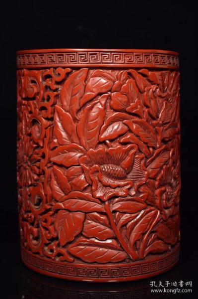 剔紅漆器筆筒,800
