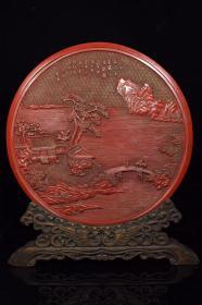 剔紅漆器圓插屏,1200