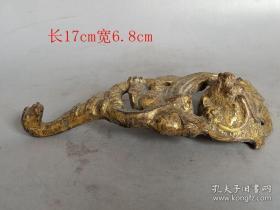 乡下收的战汉老铜鎏金代钩