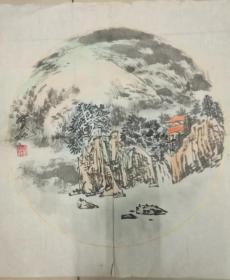 中国著名山水画家刘宝纯国画扇面