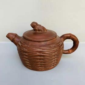茶具宜兴紫砂壶 竹编兽盖紫砂壶 Z