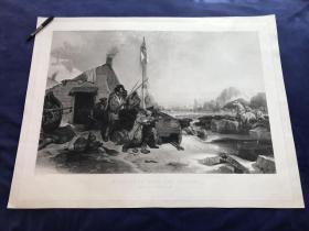 19世纪巨幅飞尘美柔汀铜版画《冰地过冬》—法国画家Eugène Lepoittevin(1806 - 1870年)作品 92.5*70.8厘米 带印戳