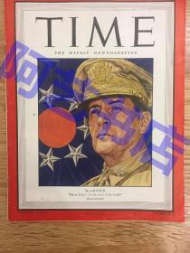 """【现货】时代周刊杂志 Time Magazine, 1945年,二战特别报道,封面 """"(美国五星上将) 麦克阿瑟"""",,珍贵史料!"""