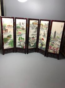 创汇时期,手绘石板画,屏风,画工太美了,品相一流,日本回流回来的