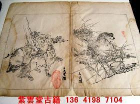 清;名画家,任阜长,动物画,画稿 #4742