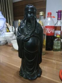 传世黑檀木雕关公,通高约26厘米,威武正气,护祐身家。