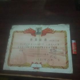 文革前毕业证书:常熟县梅李初级中学(毛像)(1957年)