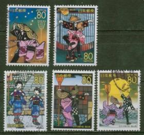 日邮·日本地方邮票信销·樱花目录编R701 2007年 富山县八尾町的盂兰盆节  信销5全