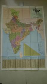 """一张非常大的""""INDIA POLITICAL""""印度(英文版)地图(各级公路、铁路线路非常详细)"""